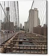 On The Brooklyn Bridge Canvas Print