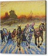 On The Open Snow Canvas Print