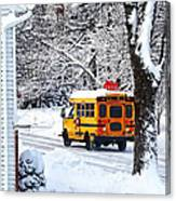 On The Way To School In Winter Canvas Print