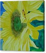 One Bright Sunflower Colorful Original Art Floral Flowers Artist K. Joann Russell Decor Art  Canvas Print
