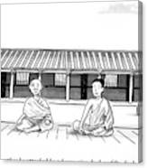 One Buddhist Monk Asks Another While Meditating Canvas Print