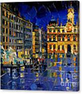 One Evening In Terreaux Square Lyon Canvas Print