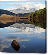 One Mile Lake One Rock Reflection Pemberton B.c Canada Canvas Print