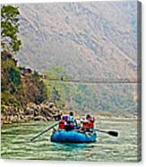 One Of Many Suspension Bridges Crossing The Seti River In Nepal Canvas Print