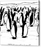 One Penguin In A Large Group Of Penguins Speaks Canvas Print