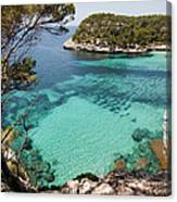 One Step To Paradise - Cala Mitjana Beach In Menorca Is A Turquoise A Cristaline Water Paradise Canvas Print