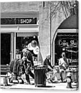 One Sunday On Main Street - Homeless Man - Black And White Canvas Print