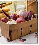 Onions And Garlic In A Crate Canvas Print