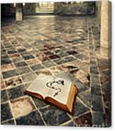 Open Book And Roasary On The Floor Canvas Print