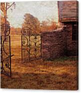 Open Gate By Cottage Canvas Print