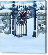 Open Gate In Snow With Wreath Canvas Print