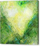 Open Heart Green Abstract Urban Heart Painting Canvas Print