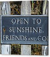 Open To Sunshine Sign Canvas Print