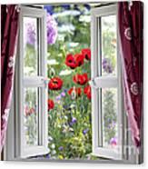 Open Window View Onto Wild Flower Garden Canvas Print