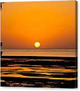 Orange And Black Sunset Abstract Canvas Print