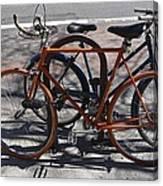 Orange And Blue Bikes Canvas Print