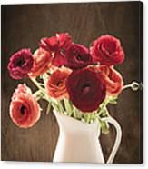 Orange And Red Ranunculus Flowers Canvas Print