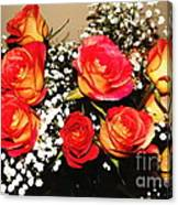 Orange Apricot Roses With Oil Painting Effect Canvas Print