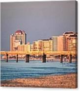 Orange Buildings On The Beach Canvas Print