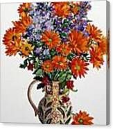 Orange Chrysanthemums Canvas Print