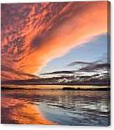 Orange Clouds Over Humboldt Bay Canvas Print