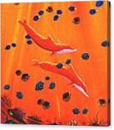 Orange Dolphins Canvas Print