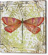 Orange Dragonfly On Vintage Tin Canvas Print