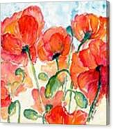 Orange Field Of Poppies Watercolor Canvas Print