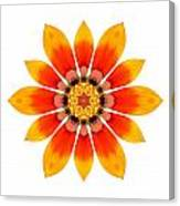 Orange Gazania I Flower Mandala White Canvas Print