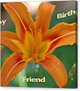 Orange Lily Birthday Canvas Print