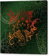 orange Lord Ganesha on green Mandala Canvas Print