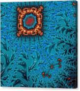 Orange On Blue Abstract Canvas Print