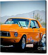 Orange Racing Mustang Canvas Print