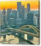 Orange Skies And A Red Car Canvas Print