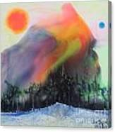 Orange Sun Blue Moon And Snow Canvas Print