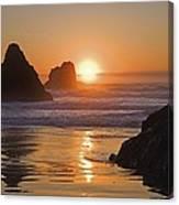 Orange Sunset Behind Offshore Rocks Canvas Print