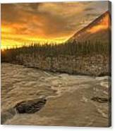 Orange Sunset On Sluice Box Rapids Canvas Print