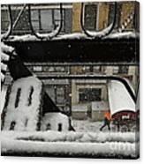 Orange Umbrella - Winter In New York Canvas Print