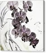 Orchids And Suminagashi Canvas Print