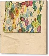Oregon Map Vintage Watercolor Canvas Print