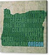 Oregon Word Art State Map On Canvas Canvas Print