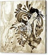 Oriental Beauty Sepia Tone Canvas Print