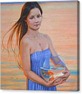 Original Classic Oil Painting Girl Art- Chinese Beautiful Girl And Goldfish Canvas Print