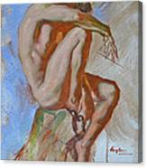 Original Impression Oil Painting Gay Man Body Art Male Nude -189 Canvas Print