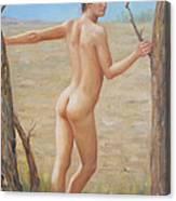 original Oil painting boy art male nude on canvas#16-2-5-07 Canvas Print