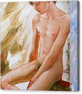 Original Boy Man Body Oil Painting Male Nude Sitting On The Window#16-2-5-28 Canvas Print