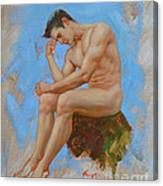 Original Oil Painting Man Body Art - Male Nude -037 Canvas Print