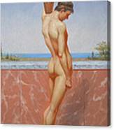 Original Oil Painting Man Body Art Male Nude On Canvas#16-2-5-13 Canvas Print