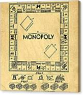 Original Patent For Monopoly Board Game Canvas Print