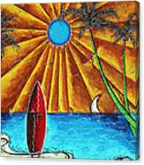 Original Tropical Surfing Whimsical Fun Painting Waiting For The Surf By Madart Canvas Print